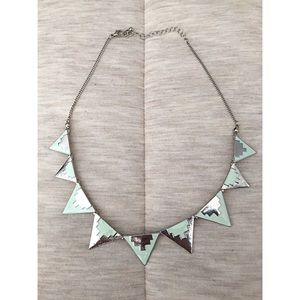 Mint Green and Silver, Short Necklace.